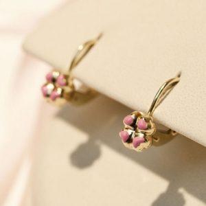 Cercei din aur cu floricele roz